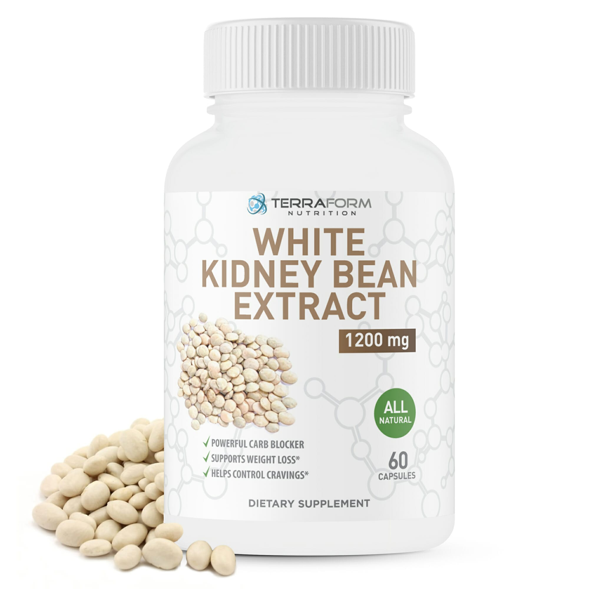 100 Pure White Kidney Bean Extract 1200mg 60 Capsules Terraform Nutrition