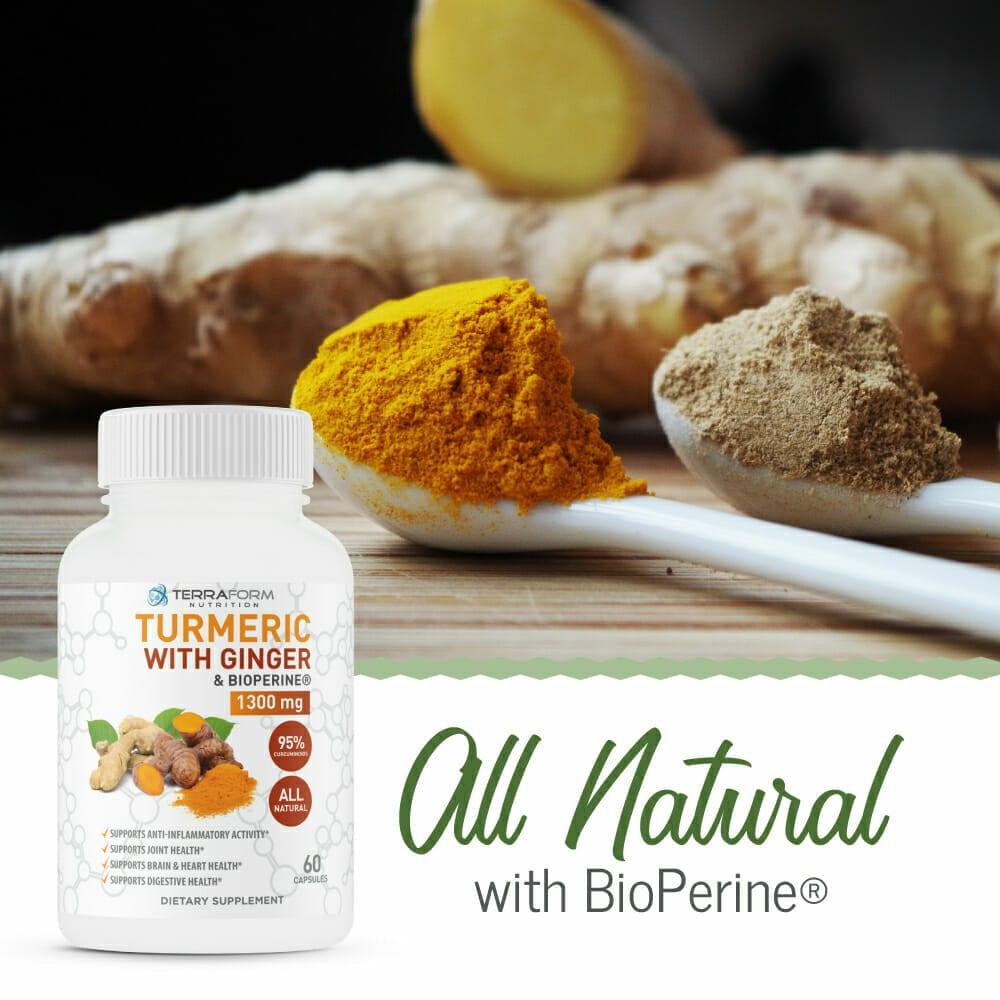 Turmeric Curcumin with Ginger & BioPerine - 60 Capsules